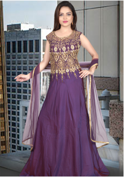 Purple Color Art Silk Designer Gown