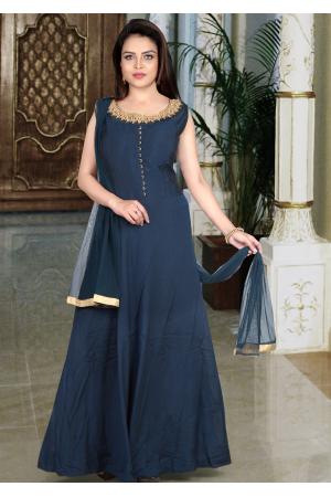 Blue Color Art Silk Designer Gown