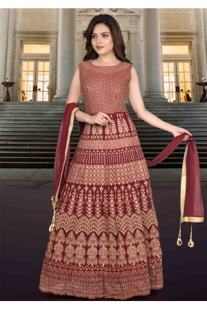 Deep Maroon Color Georgette Designer Gown
