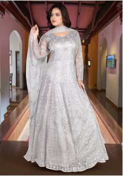 Silver Grey Color Heavy Net Designer Gown