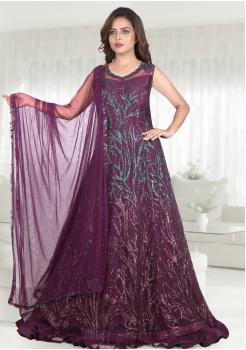 Purple Color Heavy Net Designer Gown