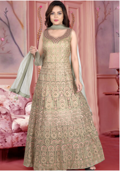 Olive Green Color Designer Gown