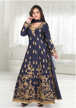 Navy Blue Color Soft Silk Designer Gown