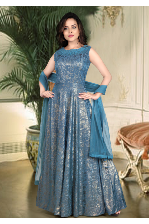 Crystal Blue Color Art Silk Designer Gown