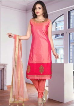 Pink Color Straight Cut Chudidar and Palazo Set
