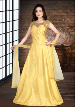Yellow Color Designer Gown