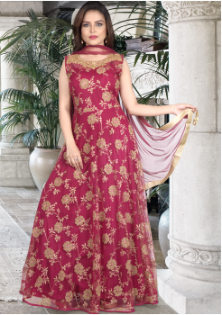 Maroon Color Designer Gown