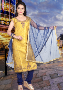 Yellow With Blue Color Straight Cut Chudidar