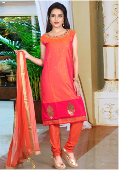 Orange Color Straight Cut Chudidar/Palazo Set