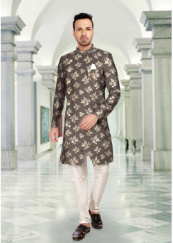 Gray With White Color Art Silk Fabric Indo Western