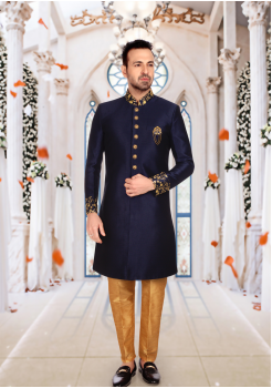 Navy Blue With Gold Color Art Silk Shervani