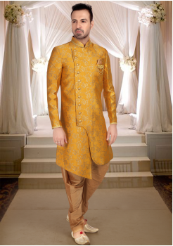 Yellow With Gold Print  Art Silk Shervani