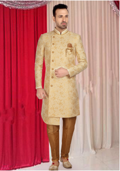 Cream With Gold Print Indo Western Shervani