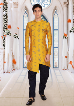 Yellow With Black Color Art Silk Fabric Indo Western