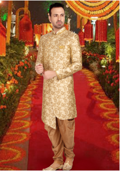 Gold With Brown Color Art Silk Fabric Indo Western