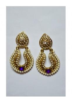 Gold and blue dangler earrings