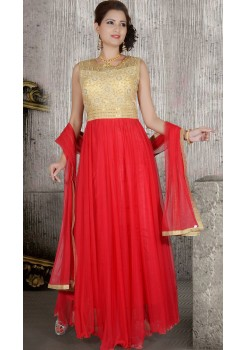 RED AND GOLD ANARKALI GOWN