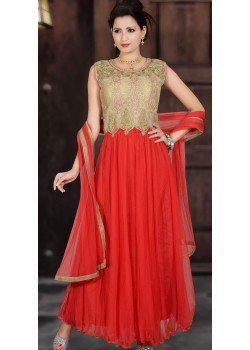 CLASSIC RED AND GOLD ANARKALI GOWN