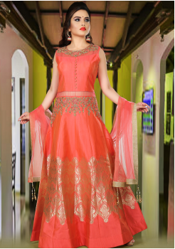 Bright Peach Orange Color Party Wear Gown