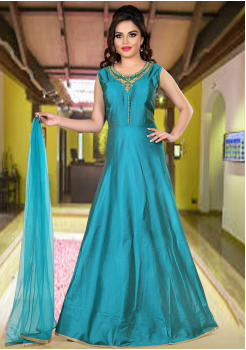Peacock Blue Color  Party Wear Designer Gown