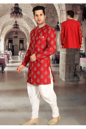 Red with White Color Designer New Indo Western Sherwani