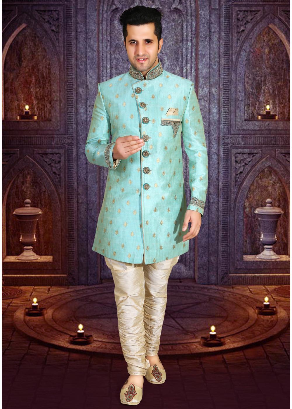 Sea Green Color Designer New Indo Western Sherwani