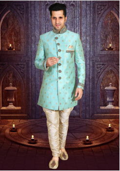 Sea Green  Color Designer New Indo Western Sherwani
