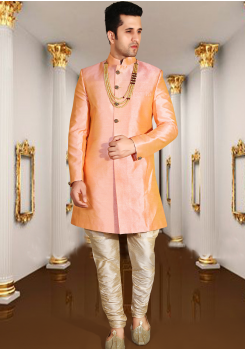 Light peach Color Designer New Indo Western Sherwani
