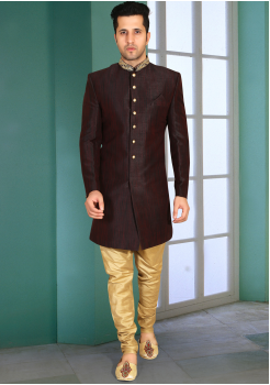Black with Gold Color Designer  Indo Western Sherwani