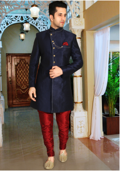 Blue with Maroon Color Designer  Indo Western Sherwani