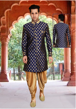Royal blue Color Designer  Indo Western Sherwani
