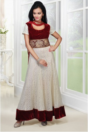 Elegant Cream lace and Maroon anarkali