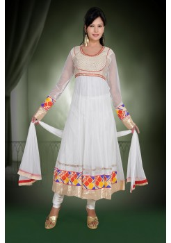 White with color Border  anarkali
