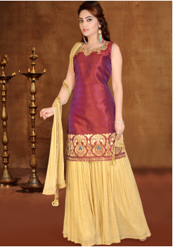 Maroon with Gold Color Party Wear Sarara Style