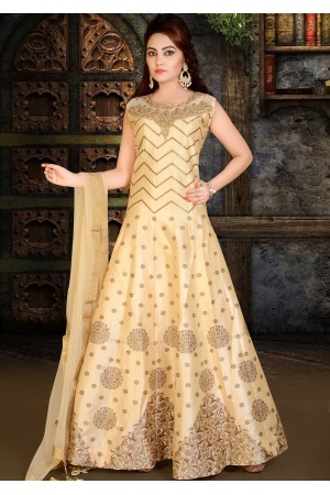 Cream with Brown printed Color Party Wear Gown
