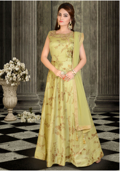 Pastel Green Color Party Wear Gown
