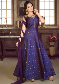 Purple  Blue Color Party Wear Gown