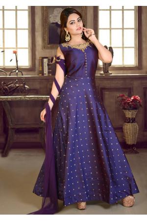 Purple  Blue Color Party Wear Gown