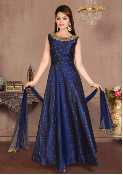 Navy Blue Color Party Wear Gown