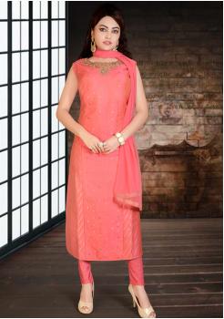 Pinky Peach Silk Designer Straight Cut Suit
