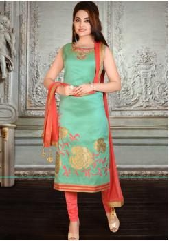 Sea Green and Peach Orange  Silk Designer Straight Cut Suit