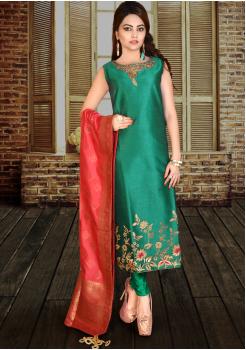 Peacock Green Silk Designer Straight Cut Suit