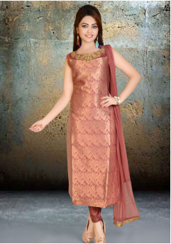 Brown with Gold Silk Designer Straight Cut Suit