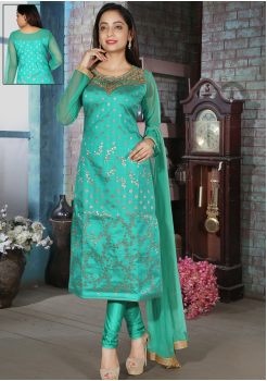 Turquoise Blue Color Silk Designer Straight Cut Chudidar