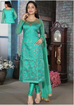Turquoise Blue Color Silk Designer Straight Cut Chudidar