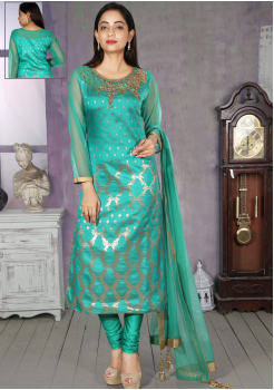 Turquoise Blue Silk Designer Straight Cut Chudidar