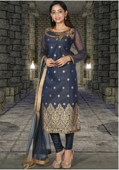 Greyish Blue with Gold printed Silk Designer Chudidar