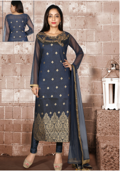 Greyish Blue with Gold printed Silk Designer Suit