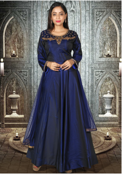 Designer Navy Blue  Party Wear Gown