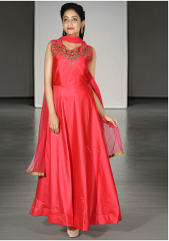 Designer Pinky Orange Color Party Wear Gown